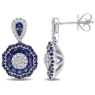 Miadora Signature Collection 14k White Gold Sapphire and 1/4ct TDW Diamond Medallion Earrings - Blue