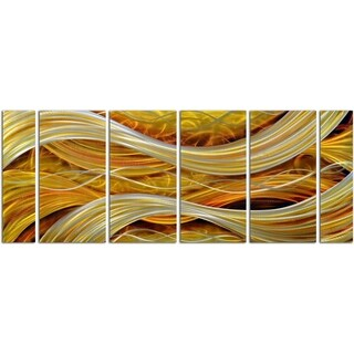 Golden Interwoven Spirals 6-piece Handmade Metal Wall Art Sculpture
