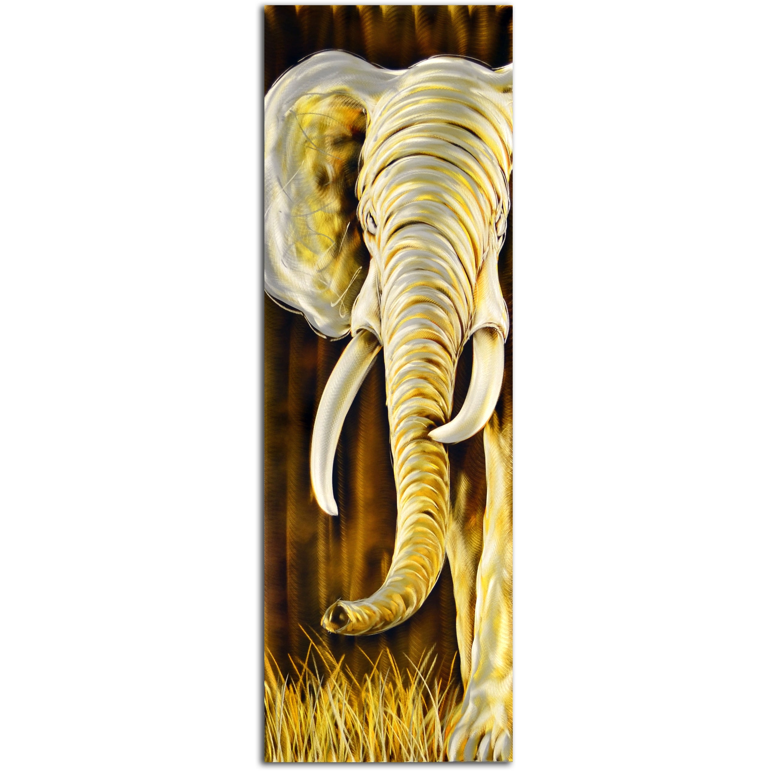 Gold and White Elephants Delight Handmade Metal Wall Art Sculpture ...