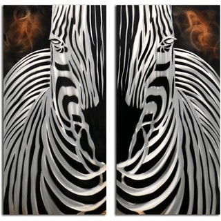 Zebra Overlook 2 piece Handmade Metal Wall Art Sculpture
