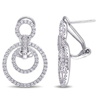 Miadora Signature Collection 10k White Gold 4/5ct TDW Diamond Layered Circle Earrings (G-H, I1-I2)