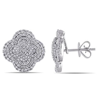 Miadora Signature Collection 14k White Gold 1ct TDW Diamond Beaded Quatrefoil Stud Earrings (G-H, SI1-SI2)