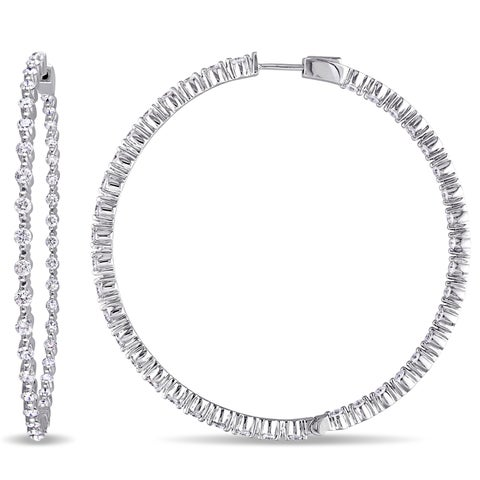 Miadora Signature Collection 14k White Gold 2 4/5ct TDW Diamond Hoop Inside Outside Earrings