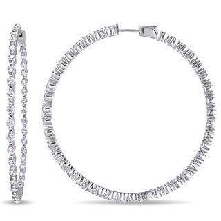 Miadora Signature Collection 14k White Gold 2 4/5ct TDW Diamond Hoop Inside Outside Earrings (G-H, SI1-SI2)