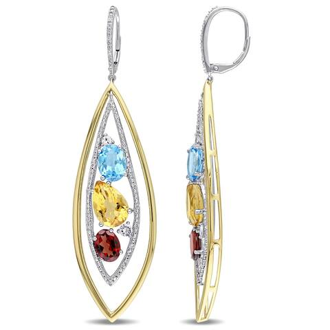 Miadora Signature Collection 14k 2-Tone Gold Garnet Blue Topaz Citrine White Sapphire 1/4ct TDW Diamond Earrings (G-H, SI1)
