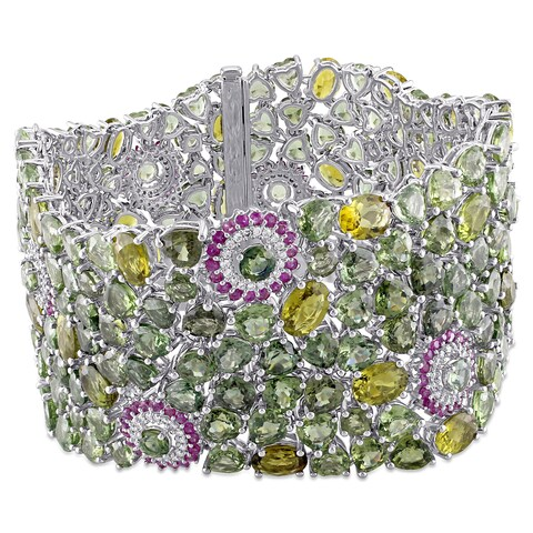 Miadora Signature Collection 14k White Gold Pink and Green Sapphire Green Tourmaline 4/5ct TDW Diamond Bracelet (G-H, SI1)