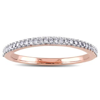 Miadora 14k Rose Gold 1/6ct TDW Diamond Semi Eternity Wedding Band