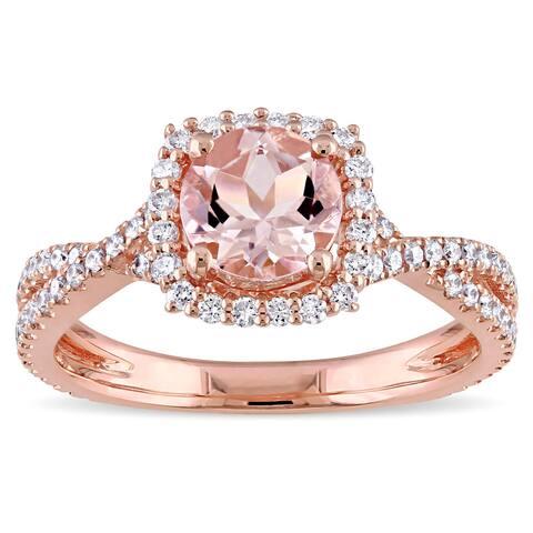 Miadora Signature Collection 14k Rose Gold Morganite 1/2ct TDW Diamond Halo Crossover Split Shank Engagement Ring (G-H, I1-I2)