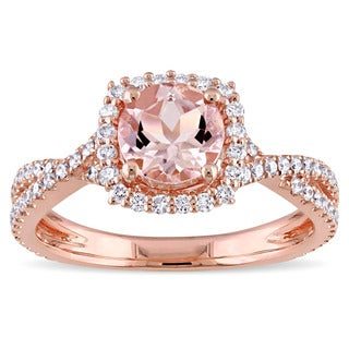 Miadora Signature Collection 14k Rose Gold Morganite 1/2ct TDW Diamond Halo Crossover Split Shank Engagement Ring (G-H, I1-I2)