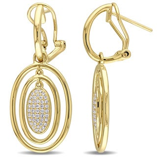 Miadora Signature Collection 14k Yellow Gold 1/3ct TDW Diamond Ear Pin Dangle Earrings (G-H, SI1-SI2)