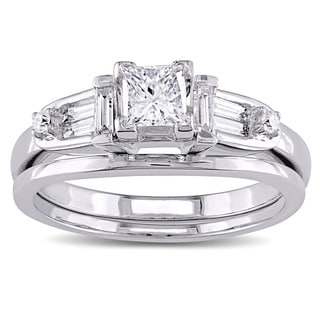 Miadora Signature Collection 14k White Gold 3/4ct TDW Princess-cut Diamond 5-stone Bridal Ring Set