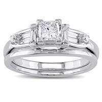 Miadora Signature Collection 14k White Gold 3/4ct TDW Princess-cut Diamond 5-stone Bridal Ring Set