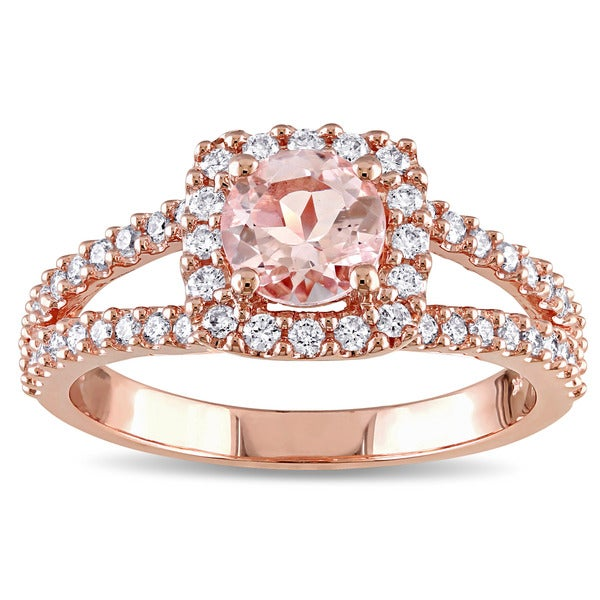 Miadora Signature Collection 14k Rose Gold Morganite and 1/2ct TDW Diamond Halo Split Shank Engagement Ring (G-H, I1-I2)