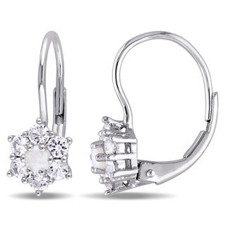 Miadora 10k White Gold Opal and White Sapphire Star Leverback Earrings