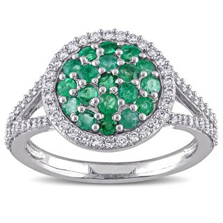Miadora Signature Collection 14k White Gold Emerald and 3/8ct TDW Diamond Split Shank Cocktail Ring (G-H, SI1-SI2)