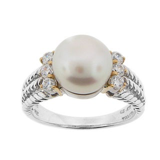 Meredith Leigh Sterling Silver and 14k Yellow Gold 6 1/10ct TGW Cubic Zirconia and Freshwater Pearl Ring (9.5 - 10mm)