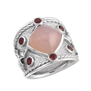 Sterling Silver 12mm Pink Chalcedony Rhodolite Garnets and White Topaz Wide fleur-de-lis Ring