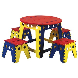 Offex Kid's Legacy Colorful Folding Table Set with 4 stools