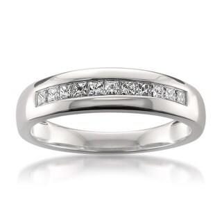 Montebello 14k White Gold 1/2ct TDW Certified Princess-cut Diamond Wedding Band