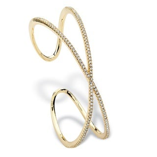 PalmBeach 1.95 TCW Micro-Pave Cubic Zirconia Crisscross Cuff Bracelet 14k Gold-Plated Bold Fashion
