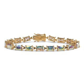 "14.40 TCW Emerald-Cut Aurora Borealis Cubic Zirconia Tennis Bracelet 14k Gold-Plated 7.25"""