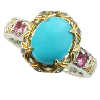 Michael Valitutti Sleeping Beauty Turquoise and Pink Tourmaline Ring