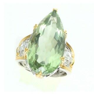 Michael Valitutti Palladium Silver Elongated Pear Green Amethyst Ring