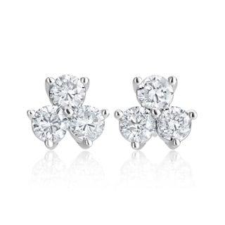 SummerRose 14k White Gold 2ct TDW Diamond Flower Studs Earrings (H-I SI1-SI2)