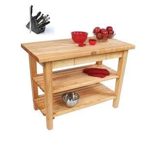 John Boos C11-D-2S-TLR Country Maple 60x38 Table with Towel Rack / Drawer / 2 Shelves and Henckels 13-piece Knife Block Set