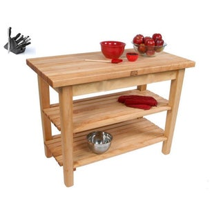 John Boos C10C-2S Country Maple 48x36 Work Table with Casters / 2 Shelves and Henckels 13-piece Knife Block Set