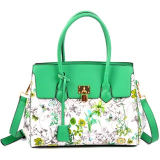Dasein Floral Kiss-Lock Compartment Padlock Satchel Handbag