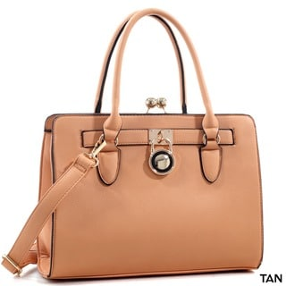 Dasein Kiss-Lock Center Compartment Padlock Satchel Handbag