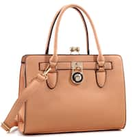 Dasein Kiss-Lock Center Compartment Padlock Satchel Handbag