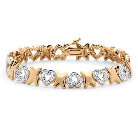 18k Gold Overlay Diamond Accent Hearts and Kisses Pave Bracelet