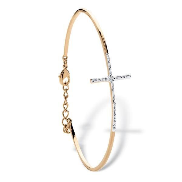 Shop 18k Gold Overlay Pave Diamond Accent Horizontal Cross Bracelet On Sale Overstock 11416670
