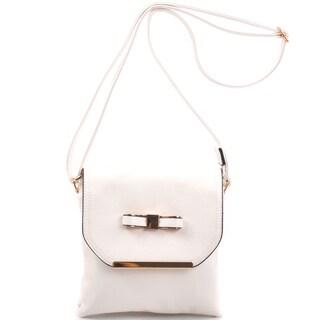 Dasein Faux Leather Gold-Tone Bow Crossbody Handbag