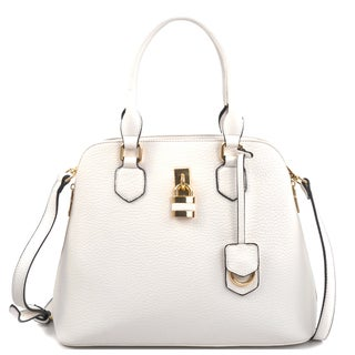 Dasein Round Padlock Zip Satchel Handbag with Shoulder Strap