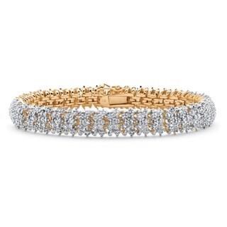 18k Gold Overlay 1/4ct TDW Diamond Snake-Link Bracelet (I-J, I2-I3)