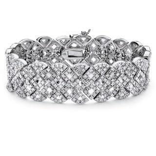 Silver Overlay 3/8ct TDW Diamond Vintage-inspired Openwork Tennis Bracelet (I-J, I2-I3)