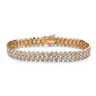 PalmBeach 18k Yellow Gold Overlay Diamond Accent Marquise-Shaped Leaf Motif Bracelet