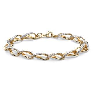 18k Yellow Gold Overlay 1/4ct TDW Diamond Infinity Link Bracelet (H-I, I2-I3)