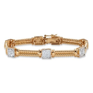 PalmBeach 18k Yellow Gold Overlay Diamond Accent Braided Link Square Cluster Station Bracelet