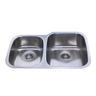 Bekjo BD813R 32-inch Undermount Double Uneven (40/60) Bowl 16 Gauge Stainless Steel Kitchen Sink