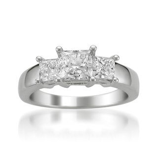 Montebello 14k White Gold 2ct TDW Certified Princess-cut White Diamond Engagement Ring