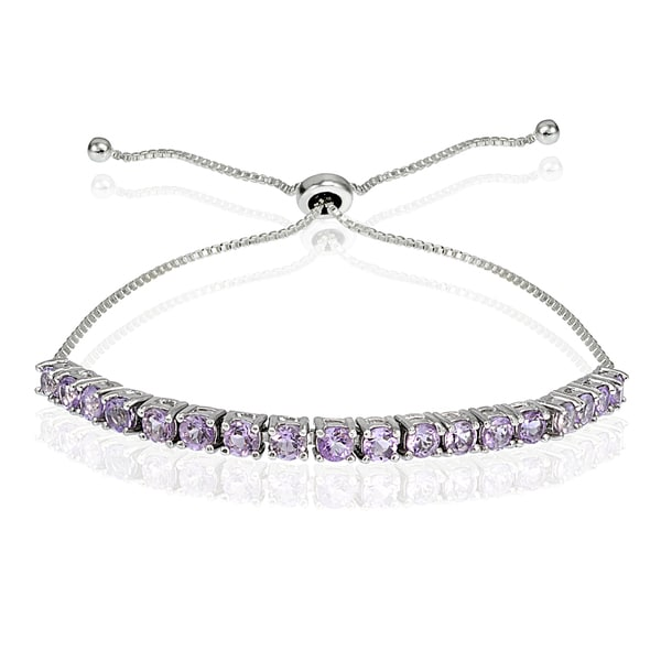 Glitzy Rocks Sterling Silver Birthstone Adjustable Slider Bracelet. Opens flyout.