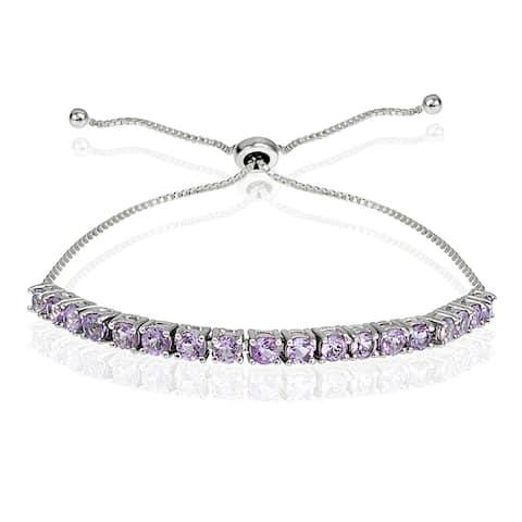 Glitzy Rocks Sterling Silver Birthstone Adjustable Slider Bracelet