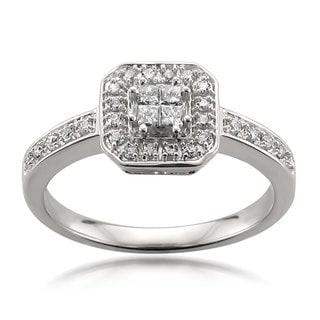 Montebello 14k White Gold 1/3ct TDW Princess Cut Diamond Composite Engagement Ring