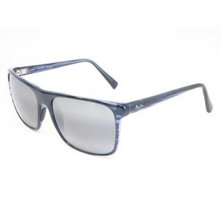 Maui Jim 705-03S Flat Island Blue Stripe Frame Polarized Neutral Grey 58mm Lens Sunglasses