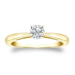 Auriya 18k Gold 1/4ct TDW Round Diamond Solitaire Engagement Ring (I-J, SI2-SI3)