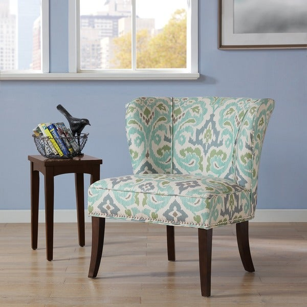 Shop Madison Park Sheldon Blue Green Printed Armless Accent Chair